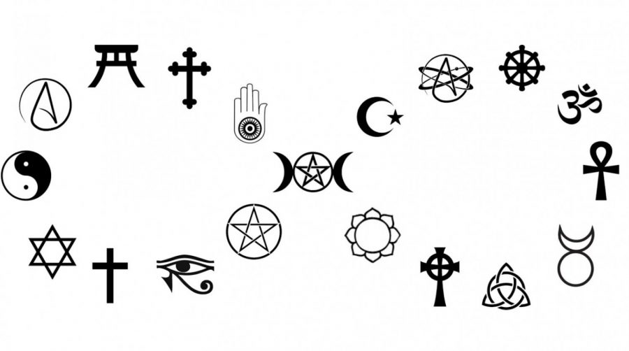 This graphic compiles many important symbols from different religions.