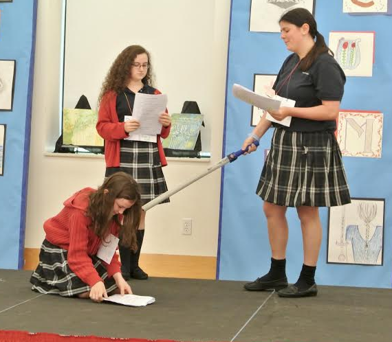 Throughout the day, students in grades 6-11 performed dialogues, soliloquies, and even battle scenes from Shakespeare's plays.