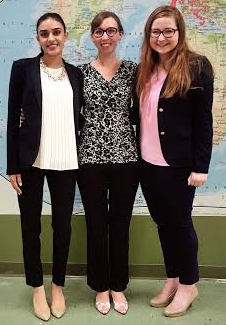 Speech Team Seniors Molly Cahill '16 and Katie Sidhu '16 pose with coach Mrs. Sarah McGowan