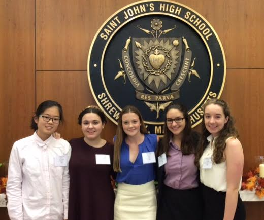 (left to right) Linda Chen '19, Jane D'Abate '19, Ellie Barry '19, Gabby Landry '18, and Caroline Churney '19 debated at St. John's High School Model United Nations Conferences in October.