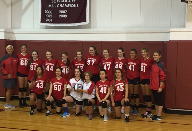 Montrose+Volleyball+Team+stands+proud+after+their+first+game+%28ever%21%29