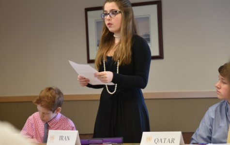 Nora Clancy '18 represents Iran at X-M MUN I.