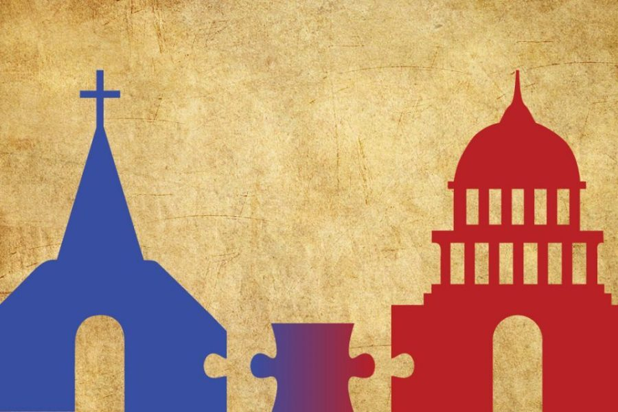 A graphic illustrating the dynamic between the church and the state.