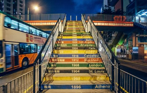 This colorful staircase can be found in Hong Kong, China. It recounts centuries of Summer Olympics hosted across the world-- including the cancelled Games of 1916, 1940, and 1944.