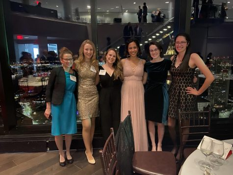 The four creators of the Quarantine Diaries can be seen here at the 2020 Montrose Gala: Ms Joyce in gold, Ms Hanrahan in black, Ms Thordarson in pink, and Ms Chiodini in emerald.