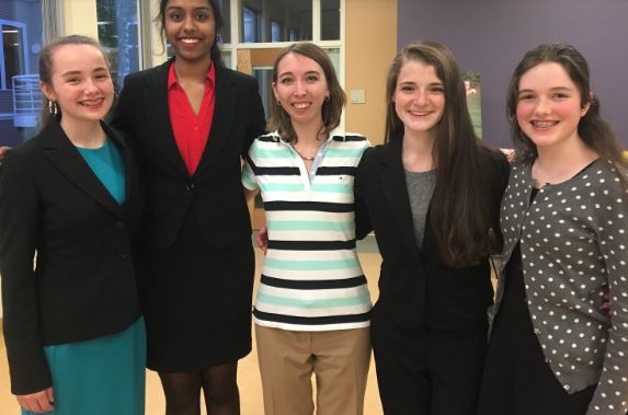 Left to Right: Yvonne Niebuhr '18, Kiran Kottapalli '18, Mrs. McGowan (Coach), Erin Golden '17, and Anna Sheehan '21.