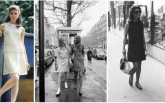 From left to right: A woman poses in a grey minidress. Two women in front of a telephone booth wear miniskirts. Jackie Onassis wears a dark minidress.