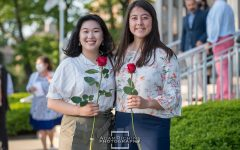 Maevis Fahey '21 and Carol Li '21 celebrate the end of their senior year at the baccalaureate mass and reception.