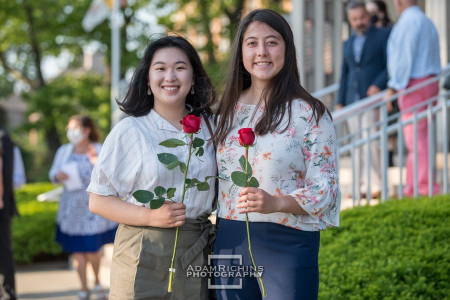 Maevis Fahey 21 and Carol Li 21 celebrate the end of their senior year at the baccalaureate mass and reception.