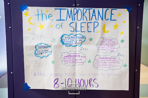 A poster on a Montrose locker details the importance of getting enough sleep.