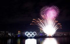 Fireworks shoot into the sky at the closing ceremony in the Olympic Stadium in Tokyo